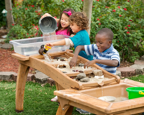 sand and water play tables: perfect outdoor toys for children